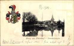 Präge Wappen Ak Otterndorf im Kreis Cuxhaven, Otterndorferhafen, Kirchturm