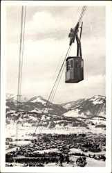Postcard Nebenhornbahn mit Blick auf Oberstdorf, Luftseilbahn
