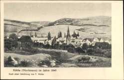 Künstler Ak Weber, P., Nidda in der hessischen Wetterau, Ort im Jahre 1840
