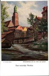 Künstler Ak Irmann, H., Wrocław Breslau Schlesien, Elisabethkirche, Oder