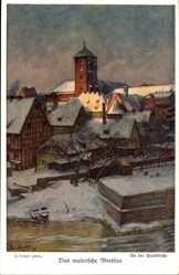Künstler Ak Langer, J., Wrocław Breslau Schlesien, An der Sandkirche, Winter