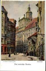 Künstler Ak Günther, Wrocław Breslau Schlesien, Universität, Fechterbrunnen