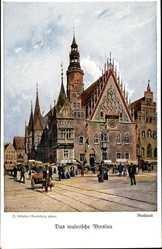 Künstler Ak Günther, Wrocław Breslau Schlesien, Rathaus, Ring, Rynek, Ratusz