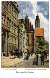Künstler Ak Günther, Wrocław Breslau Schlesien, Oberpräsidium, Dominikanerkirche