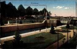 Ak Bydgoszcz Bromberg Westpreußen, Schleuse mit Parkanlage Brahemünde