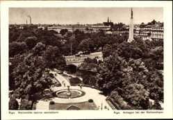 Postcard Riga Lettland, Anlagen bei der Nationaloper aus der Vogelschau