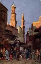 Künstler Ak Wuttke, Cairo Kairo Ägypten, Straßenpartie, Minarett, Einheimische