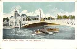 Cp Paris, Exposition 1900, le Pont Alexandre III, Brücke, Fluss, Dampfer