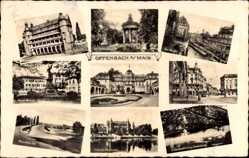 Postcard Offenbach am Main Hessen, Schloss, Rathaus, Horst Wessel Platz, Mainbrücke
