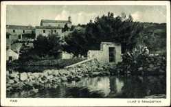 Postcard Rab Kroatien, Ulaz u Samostan, Flusspartie, Garten