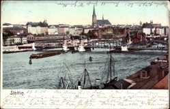 Ak Szczecin Stettin Pommern, Flusspartie, Brücke, Kirche
