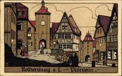 Steindruck Ak Rothenburg o.T., Plönlein, Tor, Geschäfte, Anwohner
