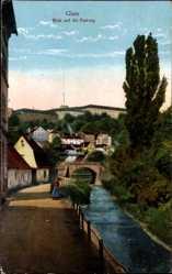 Ak Kłodzko Glatz Schlesien, Blick auf die Festung, Flusspartie, Brücke