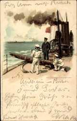Künstler Litho Bohrdt, Hans, Am Torpedo Lanzierrohr, Meissner Buch, Kriegsschiff