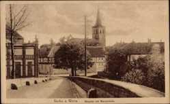 Postcard Vacha Werra, Blick auf das Hospital, Werrabrücke, Glockenturm