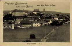 Postcard Burgkundstadt, Stadtpanorama, Glückwunsch, Neujahr, Glockenturm