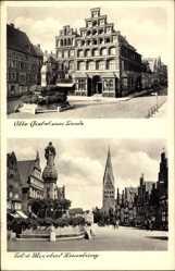 Postcard Lüneburg, Sol und Moorbad, Alte Giebel am Sande, Denkmal, Brunnen