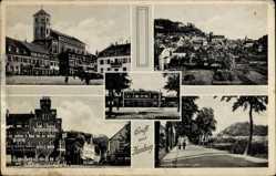 Postcard Homburg im Saarpfalz Kreis, Bahnhof, Zweibrückerstraße, Befreiungsplatz