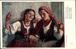 Künstler Ak Wodzinowski, W., Zwei junge Frauen in polnischer Tracht
