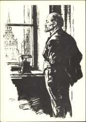 Künstler Ak H. H. Zhukov, Lenin nachdenklich an einem Fenster stehend, Telefon