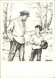 Künstler Ak H. H. Zhukov, Wladimir Iljitsch Lenin mit kleinem Jungen