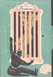 Mechanische Ak Frau hinter einem Fenster, nackt und angezogen