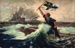 Künstler Ak Bohrdt, Hans, Der letzte Mann, Seemann mit Fahne, Kriegsschiff