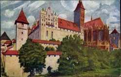 Künstler Ak Marienburg Westpreußen, Burgansicht, Mauern