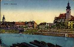 Postcard Győr Ráb Raab Ungarn, Rabareszlet, Flusspartie, Brücke, Kirche