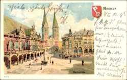 Künstler Litho Hansestadt Bremen, Maktplatz, Rathaus, Arkaden