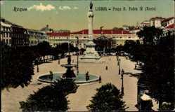 Postcard Lisboa Lissabon Roque Portugal, Praca D. Pedro IV, Rocio, Denkmal, Brunnen