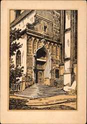 Künstler Ak Barthold, Oskar, Halle an der Saale, Das Portal der Moritzkirche