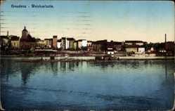 Ak Grudziądz Graudenz Westpreußen, Weichselseite, Ansicht vom Ort
