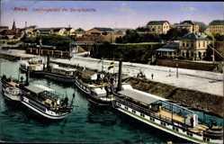 Postcard Riesa an der Elbe, Landungsplatz der Dampfschiffe