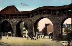 Postcard Worms Rheinland Pfalz, Raschi Tor, Fußgänger, Durchblick