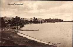 Postcard Zarrentin am Schaalsee, Blick auf den See und den Ort, Steg, Häuser
