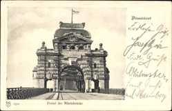 Postcard Düsseldorf am Rhein, Portal der Rheinbrücke, Straßenbahn