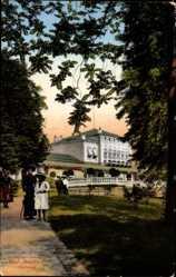 Postcard Bad Nauheim im Wetteraukreis Hessen, Wegpartie mit Blick auf Kurhaus