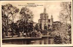 Postcard Mannheim in Baden Württemberg, Friedrichspark, Sternwarte, Jesuitenkirche