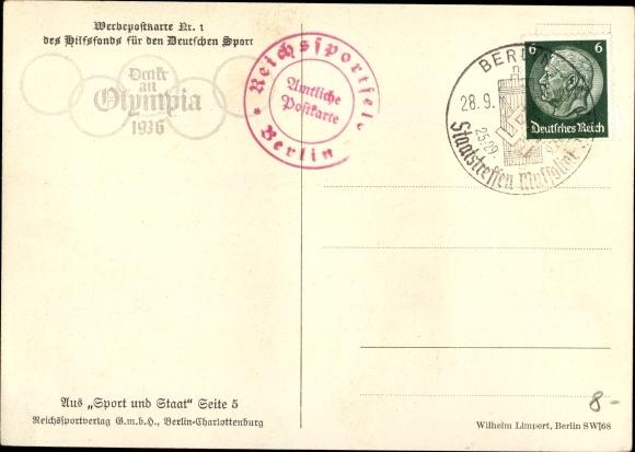 Artist Postcard Führer Und Reichskanzler Adolf Hitler Portrait Zitat Olympiade 1936 Berlin