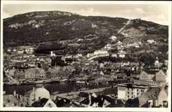 Postcard Bergen Norwegen, Panorama der Stadt, Hafen, Berg