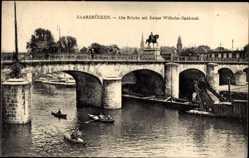Postcard Saarbrücken im Saarland, Alte Brücke mit Kaiser Wilhelm Denkmal
