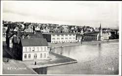Postcard Reykjavik Island, Häuser am Wasser, Totalansicht, Kirche