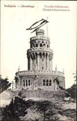 Postcard Budapest Janoshegy Ungarn, Blick auf den Elisabeth Aussichtsturm