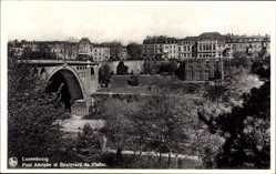 Postcard Luxemburg, Pont Adolphe et Boulevard du Viaduc, Brücke, Häuser