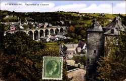 Postcard Luxemburg, Pfaffenthal et Clausen, Blick auf den Ort, Viadukt