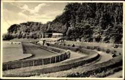 Ak Tschernjachowsk Insterburg Ostpreußen, Sportplatz mit Sporthalle