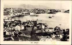 Postcard Split Kroatien, Blick auf den Ort, Boote, Kirchtürme, Häuser, Meer
