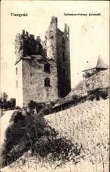 Postcard Visegrad Plintenburg Donau Ungarn, Salamon torony keletröl, Burgruine