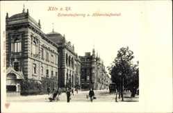 Postcard Köln am Rhein, Hohenstaufenring und Hohenstaufenbad, Straßenbahn